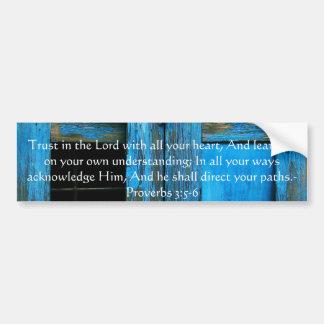 3:5 inspirado de los proverbios de la cita de la b pegatina de parachoque