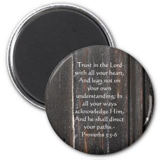 3:5 inspirado de los proverbios de la cita de la b imán redondo 5 cm