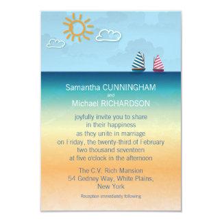 """3,5"""" invitación del boda del tema de la playa de invitación 8,9 x 12,7 cm"""