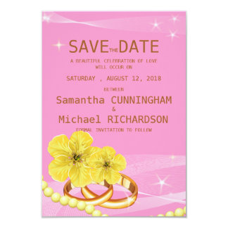 """3.5""""x5"""" Pink Golden Floral Ring  Wedding Save The 3.5x5 Paper Invitation Card"""
