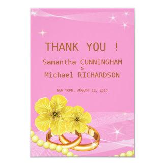 "3.5""x5"" Pink Golden Floral Ring  Wedding Thank  Yo Card"