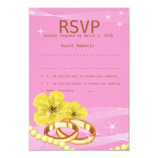 "3.5""x5"" Pink Yellow Floral Ring RSVP Wedding Card"