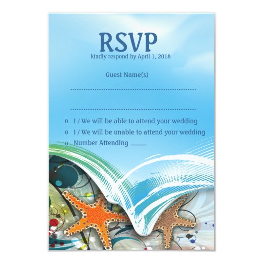 "3.5"" x 5"" Beach Starfish Couple RSVP Wedding Card"