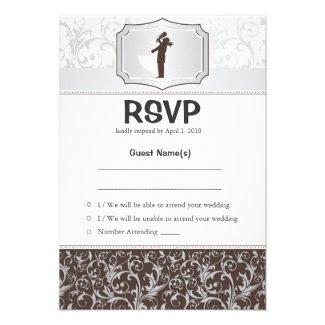 """3.5"""" x 5"""" Damask Vintage Elegant RSVP Wedding Card"""