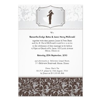 """3.5"""" x 5"""" Damask Vintage Elegant Wedding Invite"""