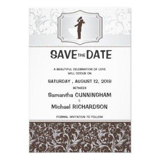 "3.5"" x 5"" Damask Vintage Elegant Wedding Save Invite"