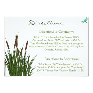 3.5 x 5 Direction Card Cattail/Dragonfly in Color Announcement