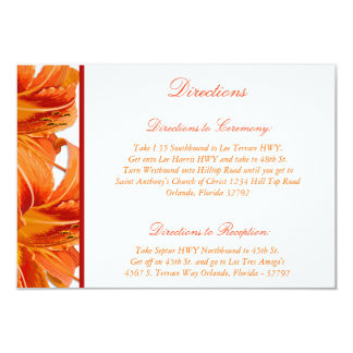 3.5 x 5 Direction Card Orange Tiger Lilly w/Stripe
