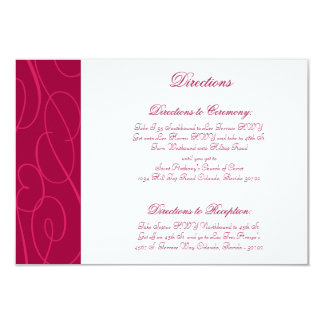 3.5 x 5 Direction Card Raspberry Pink Loops/Swirls