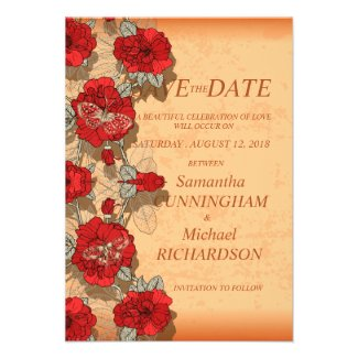 "3.5"" x 5"" Floral Flower Vintage Wedding Save The Personalized Invite"