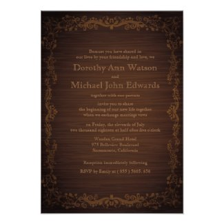 "3.5"" x 5"" Floral Wooden Style Wedding Invitation"