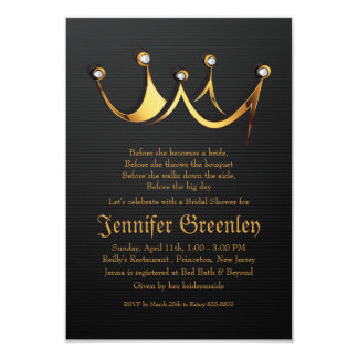 "3.5"" x 5"" Gold Royal Queen Crown Bridal Shower Custom Invitation"
