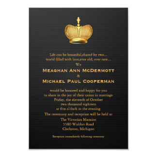 "3.5"" x 5""  Golden Royal Queen Crown Invitation"