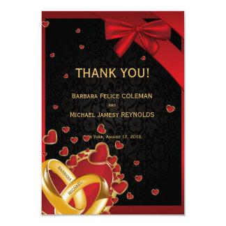 "3.5"" x 5"" Luxury Modern Golden Rings Hearts Black Card"