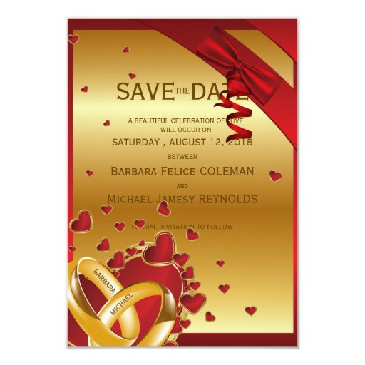 """3.5"""" x 5"""" Luxury Modern Golden Rings Hearts Red 3.5"""" X 5"""" Invitation Card"""
