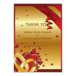 """3.5"""" x 5"""" Luxury Modern Golden Rings Hearts Red Custom Announcements"""
