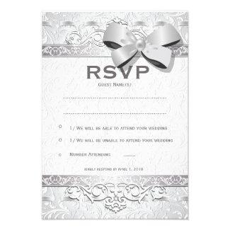 "3.5"" x 5"" Modern Silver Floral Damask Bow   RSVP"