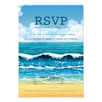 "3.5"" x 5"" Ocean Beach Waves RSVP Wedding Card"