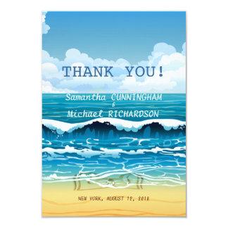 "3.5"" x 5"" Ocean Beach Waves Wedding Thank You Card"