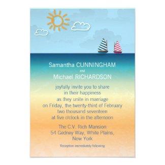 "3.5"" x 5 Ocean Sand Beach Theme Wedding Invitation"