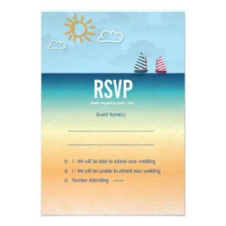 3.5 x 5 Ocean Sand Beach Theme Wedding RSVP Card