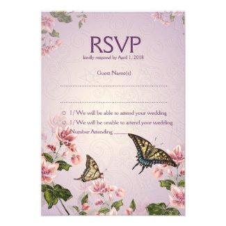 "3.5"" x 5"" Pink Floral Flowers RSVP Wedding Card"