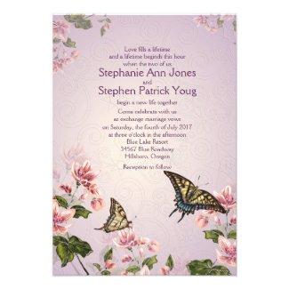"3.5"" x 5"" Pink Floral Flowers Wedding Invitation"