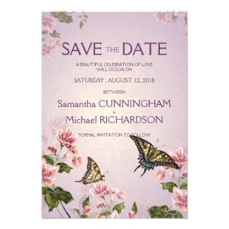 """3.5 x 5"""" Pink Floral Flowers Wedding Save The Date Custom Invitation"""