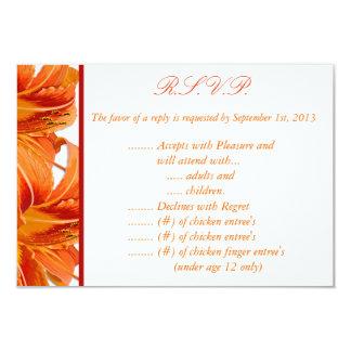3.5 x 5 R.S.V.P Reply Card Orange Tiger Lilly w/St