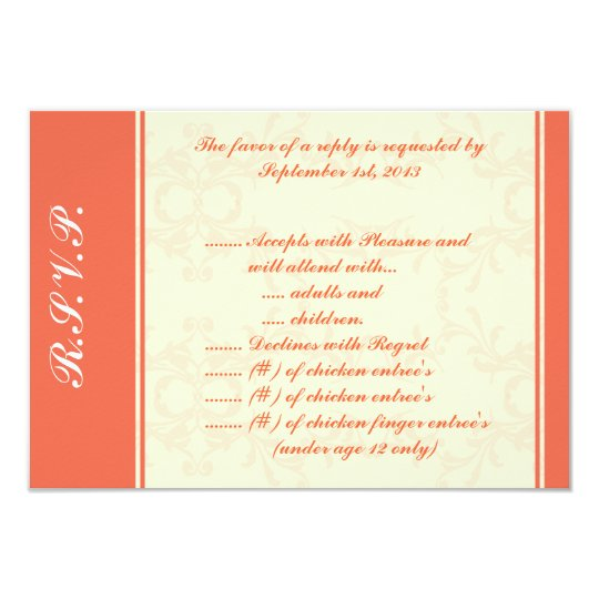 3.5 x 5 R.S.V.P Reply Card Pinkish/Peach Formal Sc