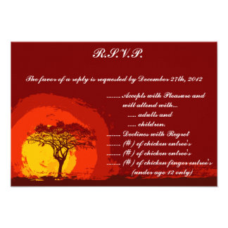 3.5 x 5 R.S.V.P Reply Card Red Sunset in Africa