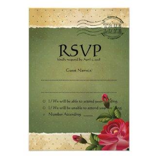 """3.5"""" x 5"""" Vintage Grunge Floral RSVP Wedding Card"""