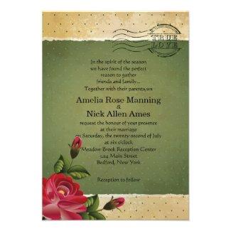 "3.5"" x 5"" Vintage Grunge Floral Wedding Invitation"