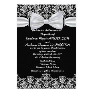 "3.5"" x 5"" Vintage Lace Bow Wedding Invitation"