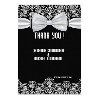 """3.5"""" x 5"""" Vintage Lace Bow Wedding Thank You Card"""