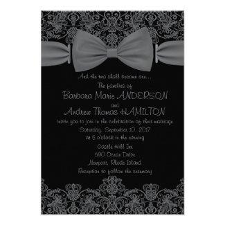 "3.5"" x 5"" Vintage Lace Dark Bow Wedding Invitation"
