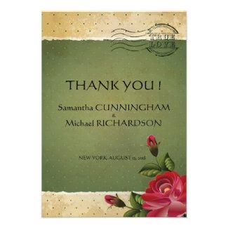 "3.5"" x 5"" Vintage Rose Floral Green Dots Grunge Custom Invitations"