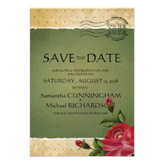 """3.5"""" x 5"""" Vintage Rose Floral Green Save The Date Personalized Invite"""
