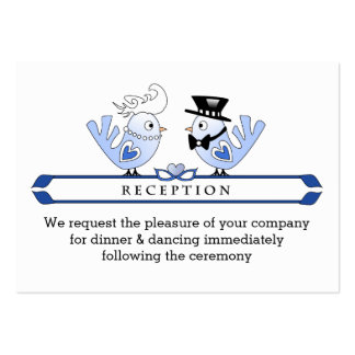 3.5x2.5 Reception Cards Blue Wedding Love Birds Large Business Cards (Pack Of 100)
