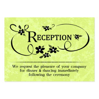 3.5x2.5 Reception Cards - Bright Green & Black Large Business Cards (Pack Of 100)
