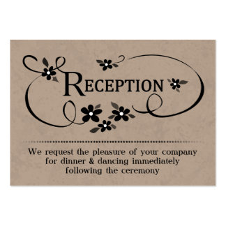 3.5x2.5 Reception Cards Brown & Black Floral Large Business Cards (Pack Of 100)