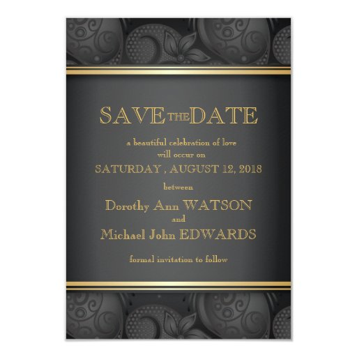 "3.5x5"" Black Luxury Floral Wedding Save The Date 3.5"" X 5"" Invitation Card"