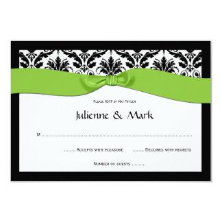 3.5x5 Black White Damask Lime Green RSVP 3.5x5 Paper Invitation Card