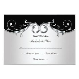 3.5x5 Elegant Black and Silver RSVP Card