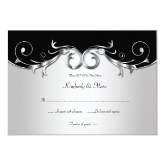 3.5x5 Elegant Black and Silver RSVP Personalized Invitations