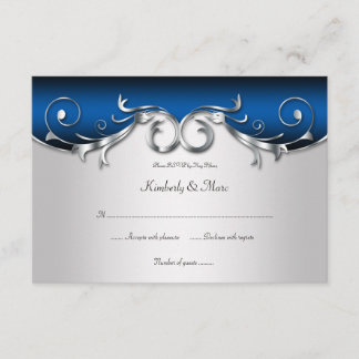 3.5x5 Elegant Blue and Silver RSVP