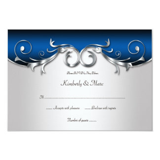 3.5x5 Elegant Blue and Silver RSVP Announcements
