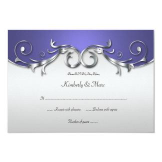 3.5x5 Elegant Purple and Silver RSVP Card