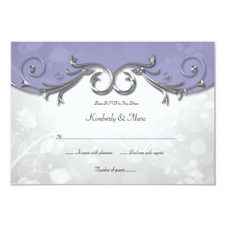 3.5x5 Elegant Purple Silver Leaves Overlay RSVP Announcements