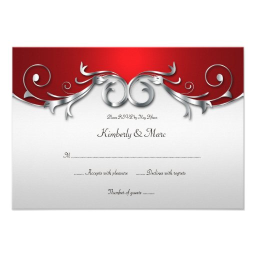 3.5x5 Elegant Red and Silver RSVP Custom Announcements